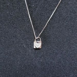 Tiny Heart Locket CZ Stones Pendant Free Chain